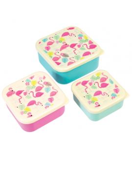 Flamingo snackdoosjes (set van 3)