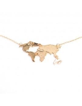wereldkaart ketting goud