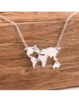 Wereldkaart ketting zilver