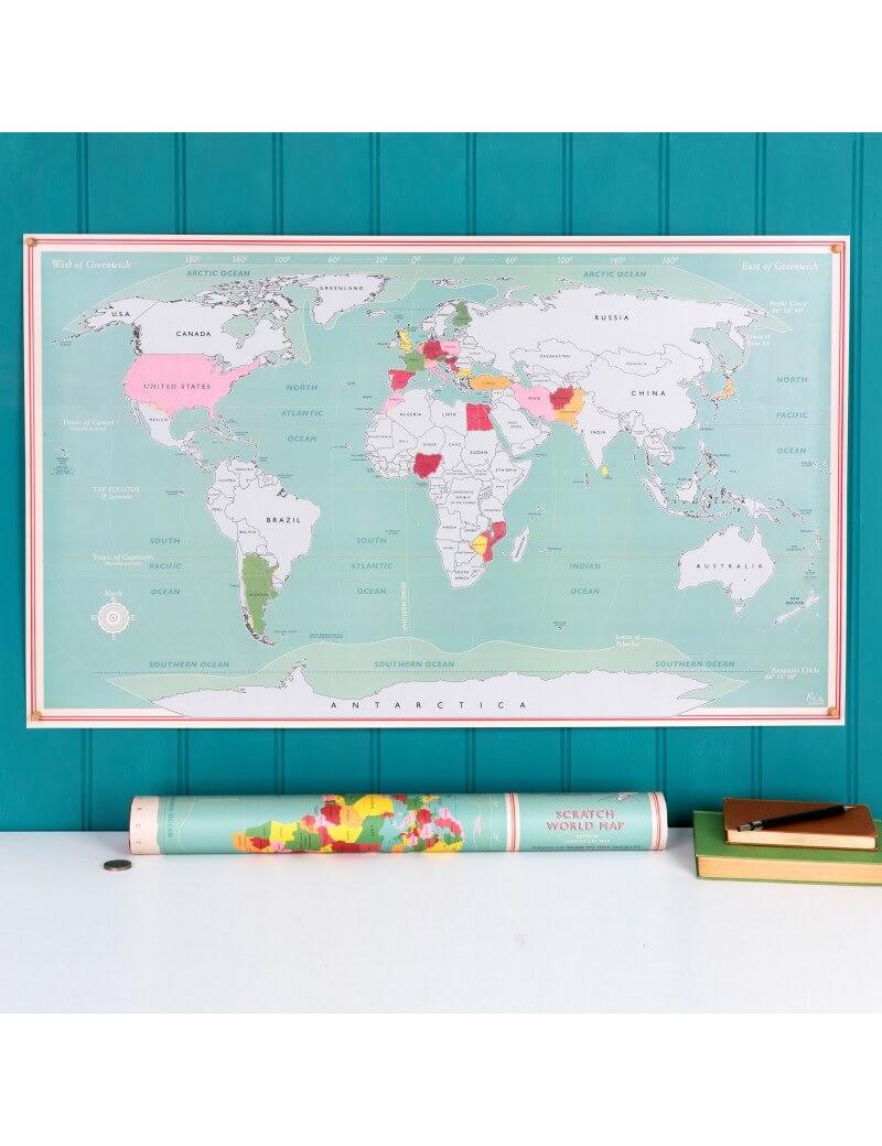 Wereldkaart krasposter