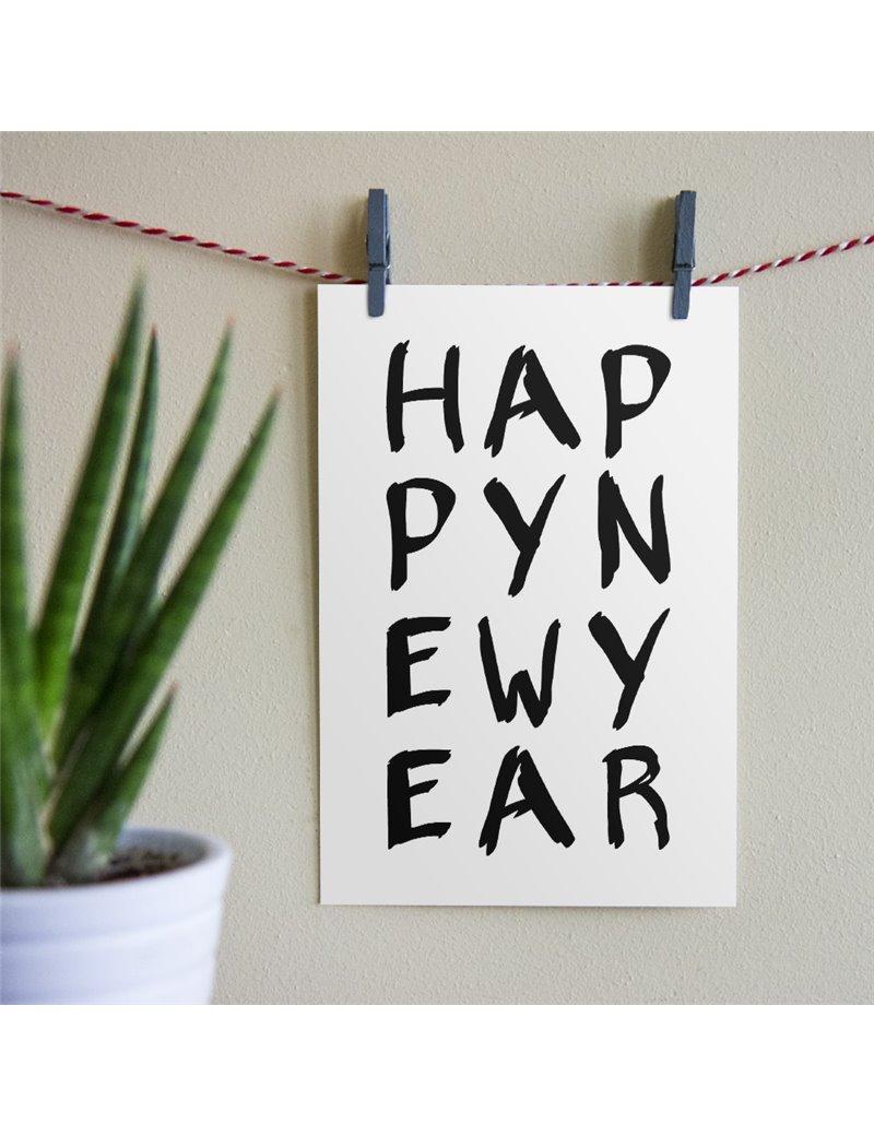 "Kerstkaart ""Happy New Year"""