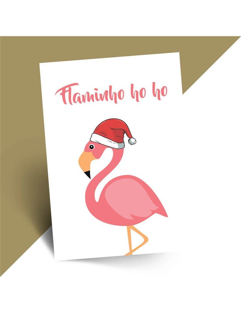Grappige kerstkaart Flamingo