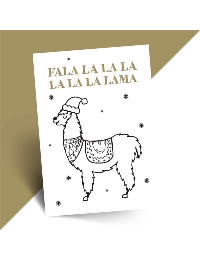 Grappige kerstkaart Lama