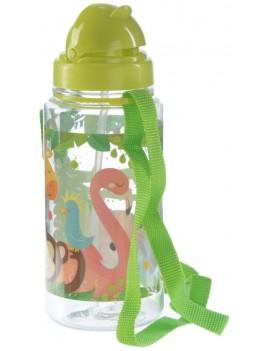 Drinkfles met rietje wilde dieren - Puckator